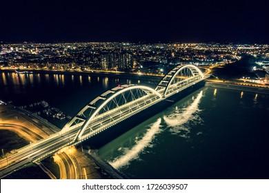 the bridge at night in novi sad - Shutterstock ID 1726039507