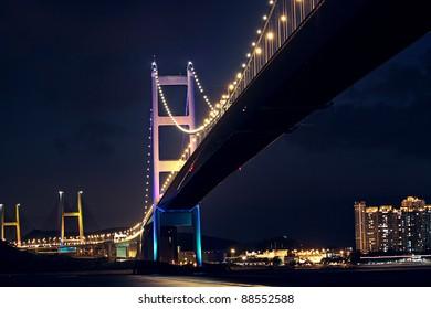 bridge at night, Tsing ma bridge