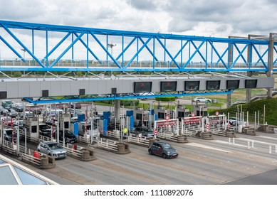 Bridge of Normandy, Le Havre, France - May  04, 2018 : Cars passing through the toll station