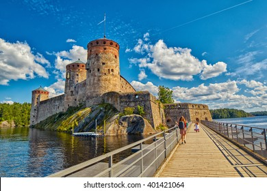 Bridge to the Olavinlinna Olofsborg, the 15th-century medieval three-tower castle located in Savonlinna, Finland.