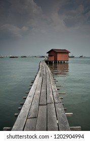 The bridge with old house, Penang, Malaysia