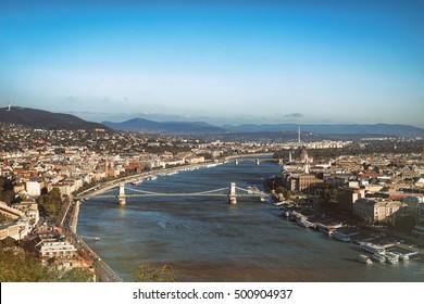Bridge on danube river in budapest city hungary