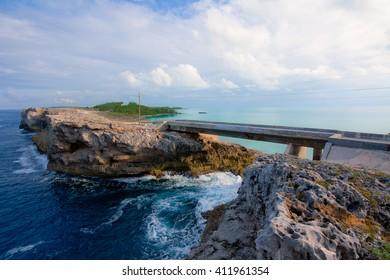 Bridge on Eleuthera between the Atlantic Ocean and the Caribbean Sea, Bahamas