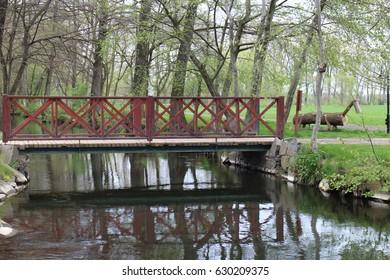 Bridge on farm in Háj ve Slezsku, Czech republic