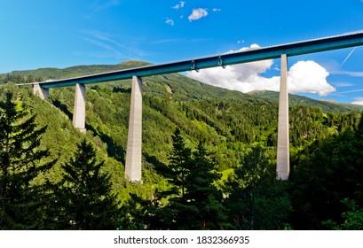 bridge europabrücke on highway brennerautobahn, brenner, tirol, austria