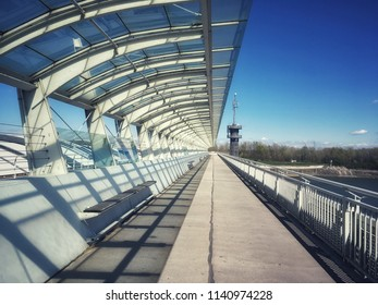 Bridge on the hydro power plant on the Danube River in Vienna city, capital of Austria