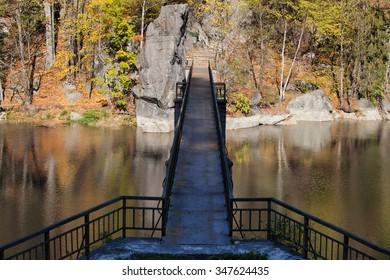 Bridge on Modre lake in autumn, Lower Silesia, Poland
