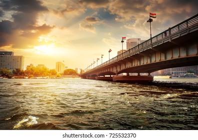 Bridge on the Nile dividing Cairo and Giza.