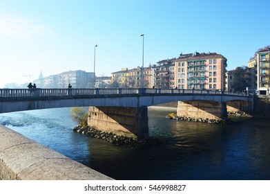 Bridge on River Adige, Verona city, Italy