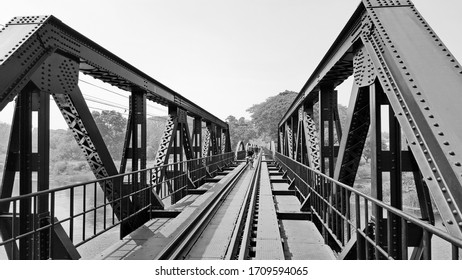 The bridge on the river kwai was built during world war 2, is important place, with a destination for tourists from around the world Thailand, vintage image.
