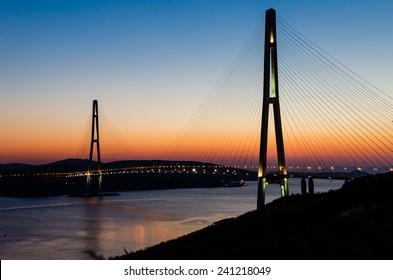 The bridge on the Russian island. Vladivostok. Russia
