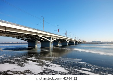 Bridge on storage pond in Voronezh