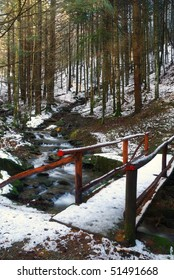 bridge on the stream with soft water