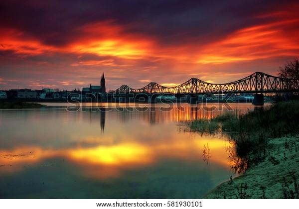 Bridge on the Vistula river in Wloclawek city, Poland