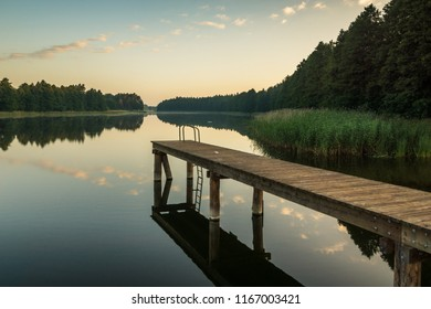 Bridge on the Wydminskie lake in Wydminy, Masuria, Poland
