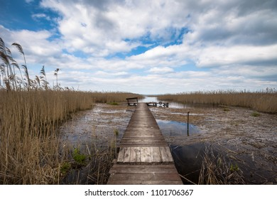 Bridge at one of the Masurian lakes in Poland