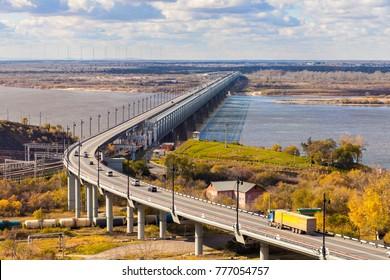 Bridge over Amur river in Khabarovsk, Russia in autumn