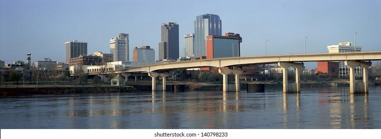 Bridge over the Arkansas river and Little Rock skyline in Arkansas, USA