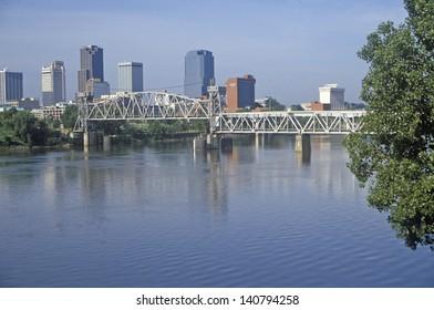 Bridge over Arkansas River view from North Little Rock, Little Rock, Arkansas