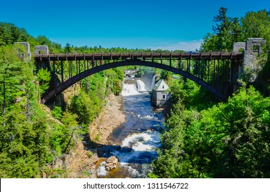 Bridge over Ausable Chasm, a sandstone gorge and tourist attraction located near the hamlet of Keeseville, New York, United States.