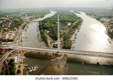 Bridge over Belgrade - birds view