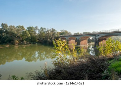 bridge over the Bormida river of bricks  in piedmont alessandria