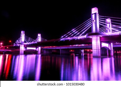 Bridge over Brazos River illuminated by LED in Waco, Texas / Light painted bridge