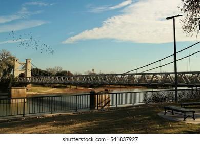 A bridge over the Brazos River near downtown Waco Texas