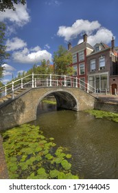 Bridge over a canal in Delft, Holland