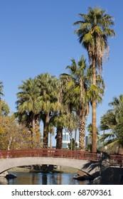 Bridge over canal in Encanto park, Phoenix downtown, Arizona
