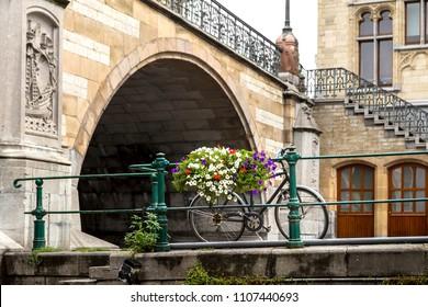 Bridge over a canal in Ghent, Belgium