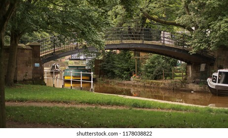 Bridge over the canal in Worsley, UK.