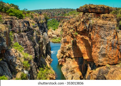 Bridge over the canyon at the Bourke's Luck potholes in the Blyde river, Mpumalanga, South Africa