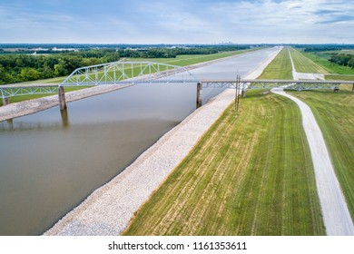 bridge over the Chain of Rocks Canal of MIssissippi River above St Louis - aerial view
