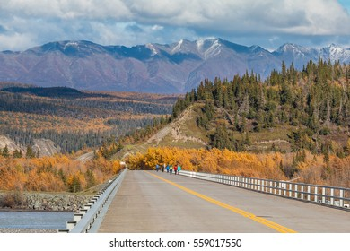 Bridge over the Copper River on the boundary of the Wrangell-St. Elias National Park and Preserve, famous for the dip-net salmon fishery. Alaska, USA.