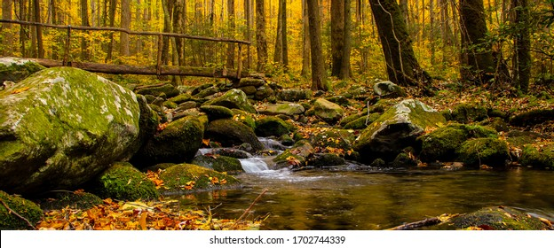 Bridge over creek in the Smoky Mountains during fall