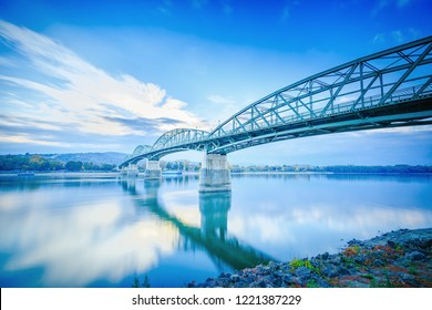 Bridge over Danube river between the Hungary and Slovakia, European Union countries. On the left side bank of Danube is Esztergom city - the first capital of Hungary, Europe. Breaking borders concept.