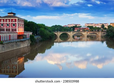 bridge over Ebro  in summer evening. Logrono, La Rioja