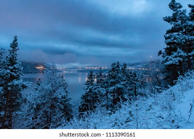 Bridge over Fjord Hardanger winter nightfall