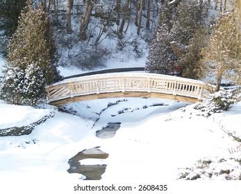 bridge over a frozen river