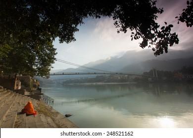 Bridge over Ganga River in Rishikesh, India