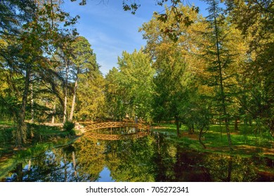 Bridge over garden lake in Vidago, Portugal