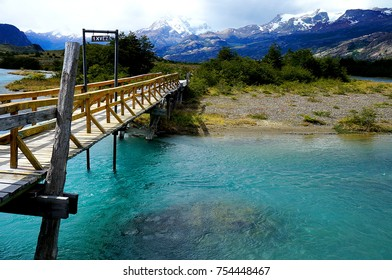 Bridge over glacial river near Estancia Cristina