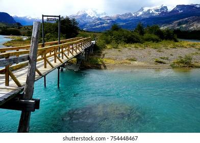 Bridge over glacial river near Estancia Cristina