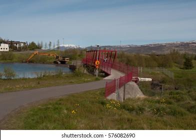 bridge over Glera river dam in Iceland
