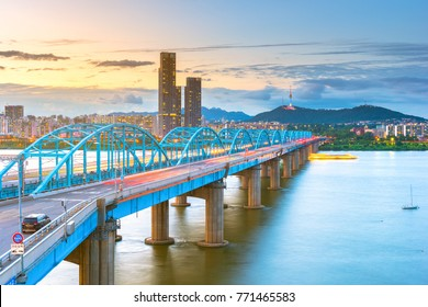 Bridge over the Han River and SeoulSky in South Korea 2017