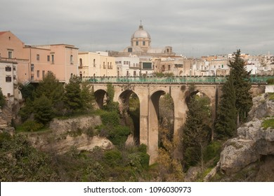 Bridge over he canyon in small beautiful town in South Italy Massafra, region Puglia