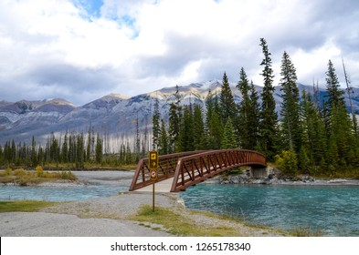Bridge over Kootenay River in autumn, Kootenay National Park, Canadian Rockies, British Columbia, Canada