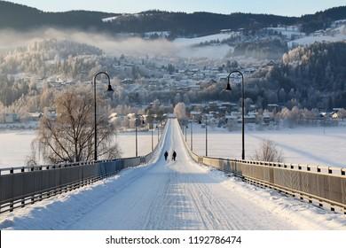 Bridge over lake Mjosa. Lillehammer, Norway