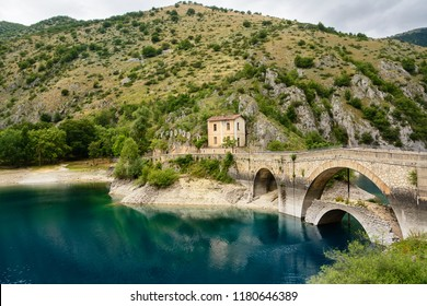 Bridge over the Lake of San Domenico in the Gorges of Sagittarius (Italy)